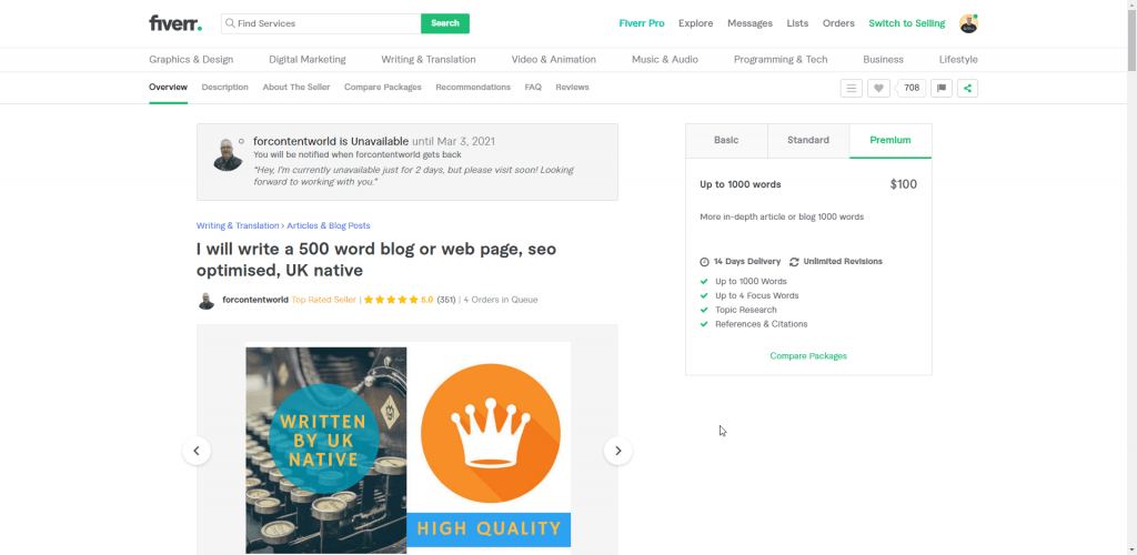 Fiverr Sellers forcontentworld